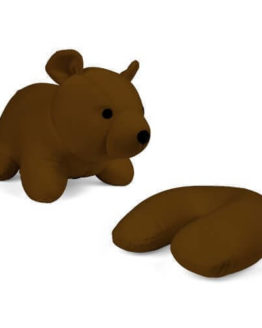 Kikkerland Zip Flip Travel Pillow Brown Bear