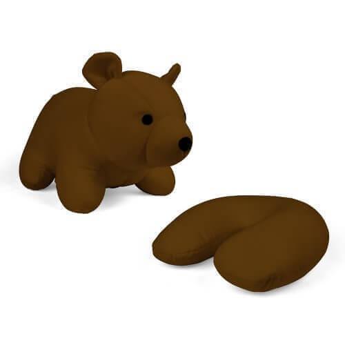 Kikkerland Zip Flip Travel Pillow Brown Bear