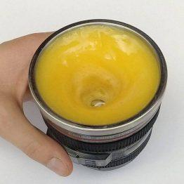 Self Stirring Camera Lens Travel & Novelty Coffee Cup Mug