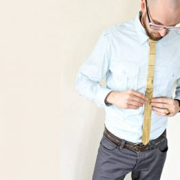 Wooden Reversible Skinny Tie