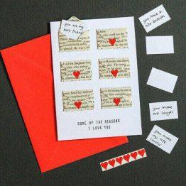 Six Love Note Mini Envelope Anniversary Card
